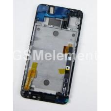 Дисплей HTC One Dual/802W с тачскрином на раме, чёрный