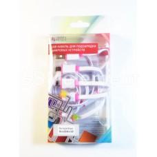 USB датакабель 4 в 1 (micro USB/mini USB/iPhone 30pin/iPhone 8pin) белый/розовый
