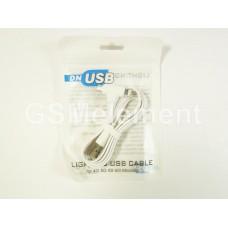 USB датакабель 2 в 1 для iPhone 5/micro с угловым разъёмом, плоский, белый