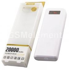 Внешний аккумулятор Remax Proda, 20000 mAh белый (2 USB выхода 1A/2A, дисплей, фонарь)