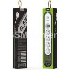 Удлинитель сетевой LDNIO SE4432 (4 розетки, 4 USB 3.4 A, 1.8 m) белый