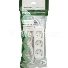 Удлинитель сетевой Defender E330 (3 розетки c заземлением, 10 A, 3.0 m) белый