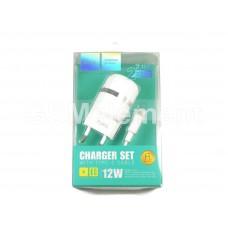 СЗУ Hoco C41A Wisdom (2 USB выхода/ 2.4 A/ Type-C кабель) белый