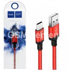 USB датакабель Type-C Hoco X14 Times speed (2.1 A/ 1.0 m) в переплёте, красный