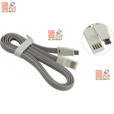 USB датакабель micro USB SmartBuy iK-12m (плоский, 1.2 m, резина, на магните) серый