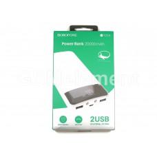 Внешний аккумулятор BoroFone T21A 20000 mAh (2 USB выхода 2.1A, дисплей, фонарь), белый