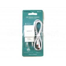 СЗУ BoroFone BA20A (USB выход 2.1 A + кабель Type-C), белый