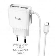 СЗУ Hoco C59A Mega Joy (2 USB выхода/ 2.4 A/ micro USB кабель) белый