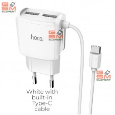 СЗУ Hoco C59A Mega Joy (2*USB/ 2.4 A/ Type-C кабель), белый (АКЦИЯ !!!)