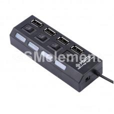 USB HUB на 4 порта с выключателями (USB 2.0)
