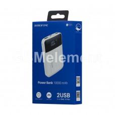 Внешний аккумулятор BoroFone BT21, 10000 mAh (2 USB выхода 2.1A, дисплей, фонарь), белый