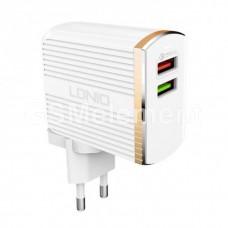 СЗУ LDNio A2502Q (2 USB выхода 3.0 A + кабель Type-C), Quick Charge 3.0, белый