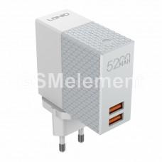 СЗУ + внешний аккумулятор LDNio PA606 (5200 mAh/ 2 х USB/ auto ID) белый АКЦИЯ !!!