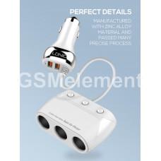 Разветвитель прикуривателя LDNio C504 (3 гнезда с переключателями/ 4*USB/ 2*QC3.0/ 12-24V), белый