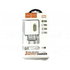 СЗУ Hoco C75 Imperious (2 USB выхода/ 2.4 A/ Apple 8 pin Lightning кабель) белый