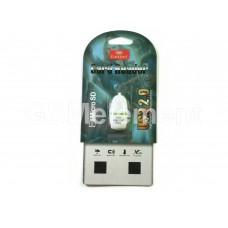 Кардридер Earldom ET-OT26 для microSD, белый с зелёной полоской