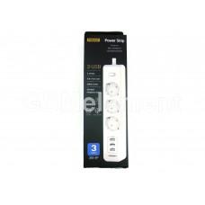 Сетевой фильтр Pisen 303-EP (3 розетки с заземлением, 10 A, 1.8 m, 3*USB 3.1A), белый