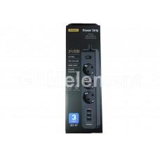 Сетевой фильтр Pisen 303-EP (3 розетки с заземлением, 10 A, 1.8 m, 3*USB 3.1A), чёрный