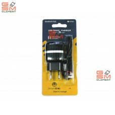 СЗУ BoroFone BA24A (2*USB, 2.4 A, кабель Type-C), чёрный