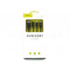 USB датакабель 3 в 1 для Apple 8 pin/Type-C/micro USB Baseus Rapid Series (1.2 m, 3.0 A), чёрный