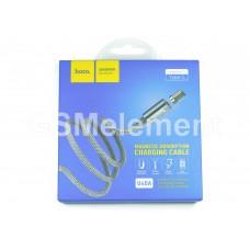 USB датакабель Type-C Hoco U40A (1.0 m, 2.0 A), магнитный, в переплёте, серый