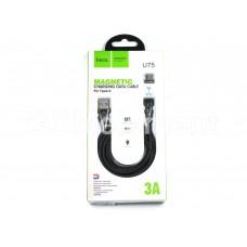 USB датакабель Type-C Hoco U75 (1.2 m, 3.0 A), магнитный, в переплёте, LED, чёрный