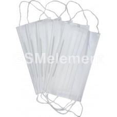 Маска одноразовая трёх-слойная из нетканого материала на резинках (комплект 10 шт.)