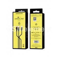 USB датакабель 3-in-1 Borofone BX17 (micro USB/Type-C/Lightning 8 pin) (1.0 m/2.0 A) силикон, чёрный