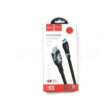 USB датакабель Type-C Hoco S6, силиконовый с LED таймером (3.0 A/ 1.2 m), чёрный