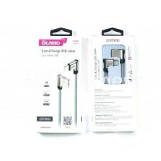 USB датакабель Apple 8 pin Lightning OLMIO (2.1 A/1.0 m) угловые разъёмы, плетёный, Fast Charging
