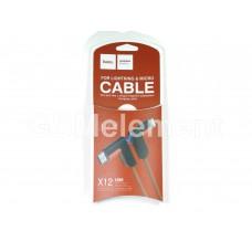 USB датакабель 2 в 1 для Apple 8 pin/micro USB Hoco X12 (2.4A/ 1.2 m) силикон, боковой, красный