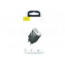 СЗУ Baseus NRT-DY035 (3*USB, 3.4 A max, вольтметр, Fast Charge), чёрный