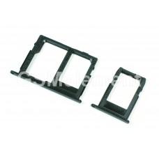 Контейнер SIM+MMC Samsung A600F/J600F (комплект) чёрный, оригинал