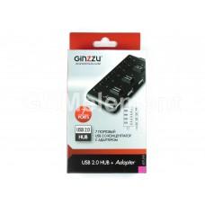 USB HUB Ginzzu GR-487UAB, (7 портов USB 2.0, выключатели, с адаптером)