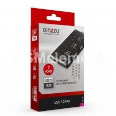 USB HUB Ginzzu GR-487UB, (7 портов USB 2.0, выключатели)