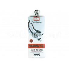 USB датакабель Apple 8 pin Lightning, Earldom EC-078i, (1.0 m, 2.4 A), магнитный, переплёт, чёрный