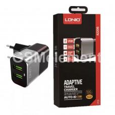СЗУ LDNio A2206 (2 USB выхода 2.4 A + кабель Apple 8 pin), Quick Charge 3.0, чёрный