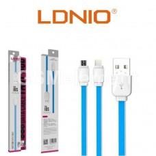 USB датакабель Apple 8 pin Lightning LDnio XS-07 (1.0 m, 2.1 A), силикон, плоский, синий