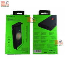 Внешний аккумулятор BoroFone BT31, 10000 mAh (2*USB-A, micro/Type-C, беспроводная зарядка), чёрный