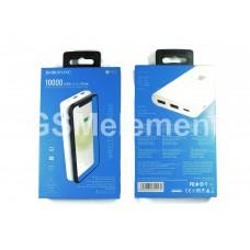 Внешний аккумулятор BoroFone BT31, 10000 mAh (2*USB-A, micro/Type-C, беспроводная зарядка), белый