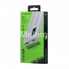 Внешний аккумулятор BoroFone BT32, 10000 mAh (2*USB-A, micro/Lightning/Type-C, LCD), белый
