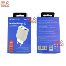 СЗУ BoroFone BA39A (2*USB, 5 V/3 A, Quick Charge 3.0), белый