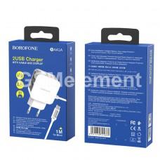 СЗУ BoroFone BA41A, Power lake (2*USB 2.4 A + кабель micro USB, дисплей), белый