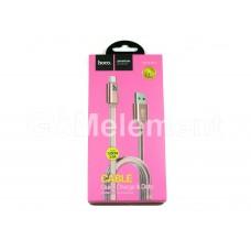 USB датакабель Type-C Hoco UPL12 Plus (3.0 A/ 1.2 m) силикон, плоский, розовое золото