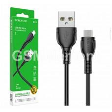 USB датакабель micro USB Borofone BX51 (2.4 A/ 1.0 m) силикон, чёрный