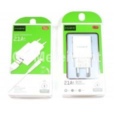 СЗУ Maimi T13 (USB выход 5 V/2.1 A + кабель Lightning Apple 8 pin), белый