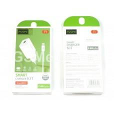 СЗУ Maimi T7 (USB выход 5 V/2.4 A + кабель Lightning Apple 8 pin), белый