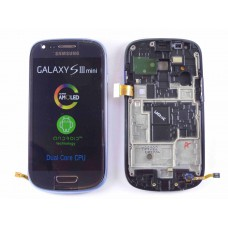 Дисплей Samsung i8190 Galaxy S3 mini с тачскрином (Metallic Blue) на передней панели, оригинал