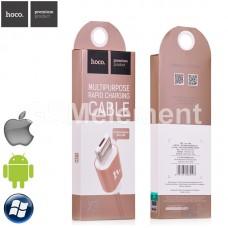 USB датакабель 2 в 1 для Apple 8 pin/micro USB Hoco X3 (1,0 m) в переплёте, золотой
