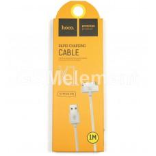 USB датакабель для Apple 30 pin Hoco X1 Rapid series, силикон (2.1A/ 1.0 m), белый